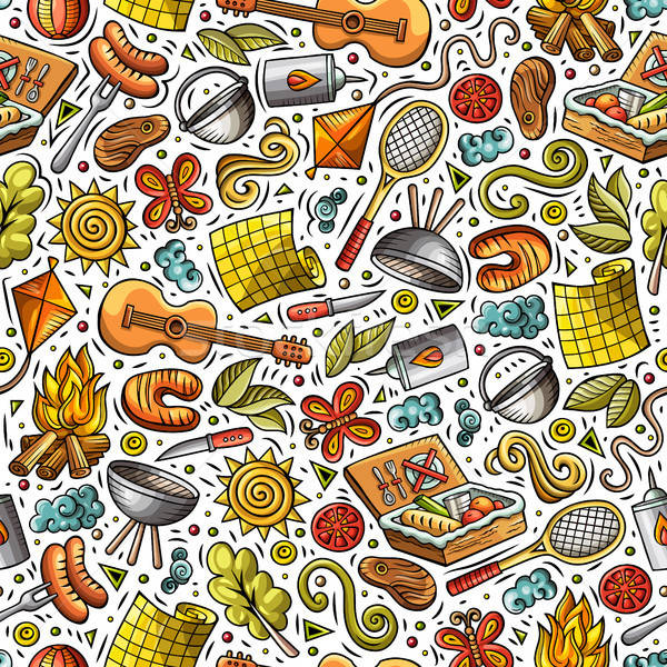 Cartoon cute picnic colorato Foto d'archivio © balabolka