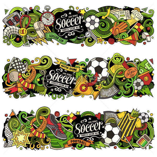 Cartoon vector doodles Football banners compositions Stock photo © balabolka