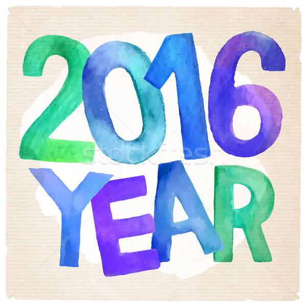 2016 année vecteur couleur pour aquarelle dessinés à la main Photo stock © balabolka