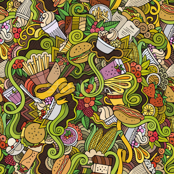 Cartoon vector hand-drawn Doodles on the subject of fast food  Stock photo © balabolka