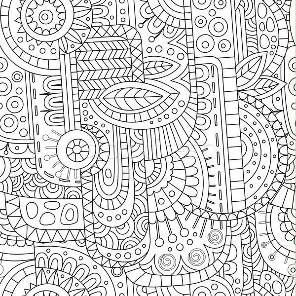 Stock photo: Abstract decorative geometric contour line vector pattern