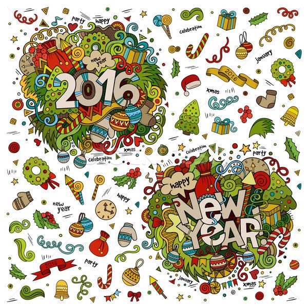 Set 2016 capodanno mano scarabocchi elementi Foto d'archivio © balabolka