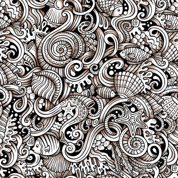Cartoon doodles under water life seamless pattern Stock photo © balabolka