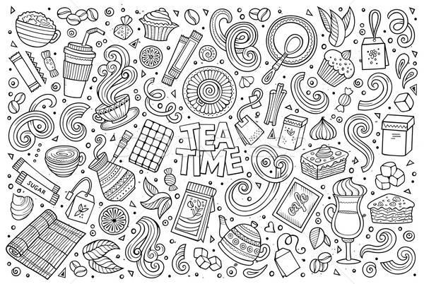 Stock photo: Vector doodle cartoon set of tea and coffe