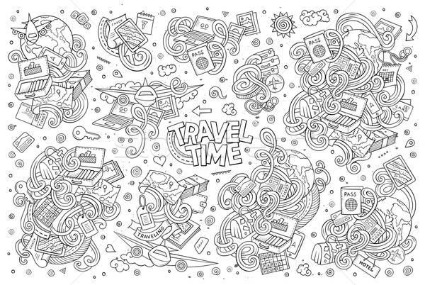 Vektor firka rajz szett utazás vonal Stock fotó © balabolka