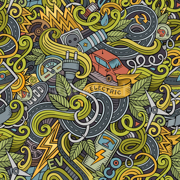 Cartoon cute doodles hand drawn Electric vehicle seamless pattern Stock photo © balabolka