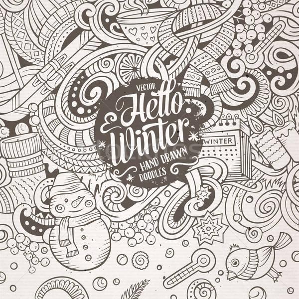 Karikatür sevimli karalamalar kış sezonu çerçeve dizayn Stok fotoğraf © balabolka