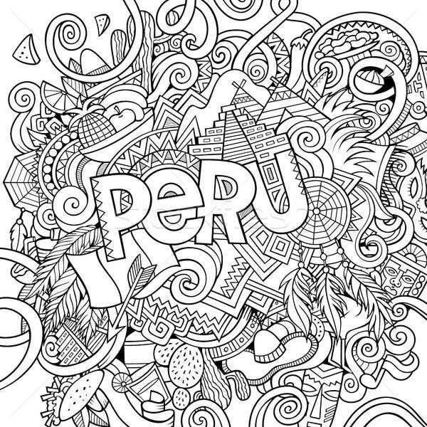 Peru mão elementos país símbolos Foto stock © balabolka