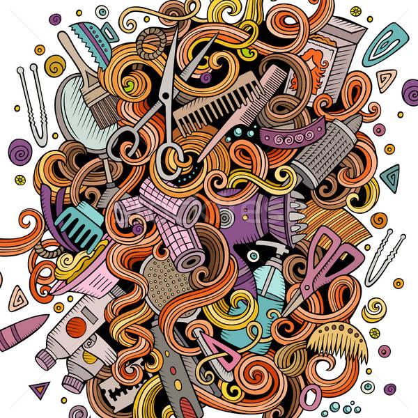 Rajz firkák fodrászat illusztráció aranyos kézzel rajzolt Stock fotó © balabolka