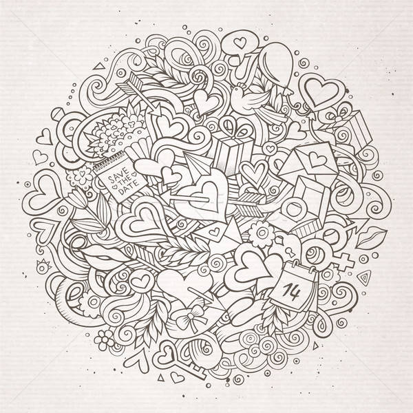 Stock fotó: Rajz · vektor · kézzel · rajzolt · firka · szeretet · illusztráció