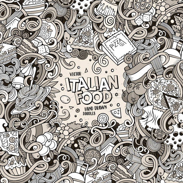 Stock photo: Cartoon hand-drawn doodles Italian food illustration