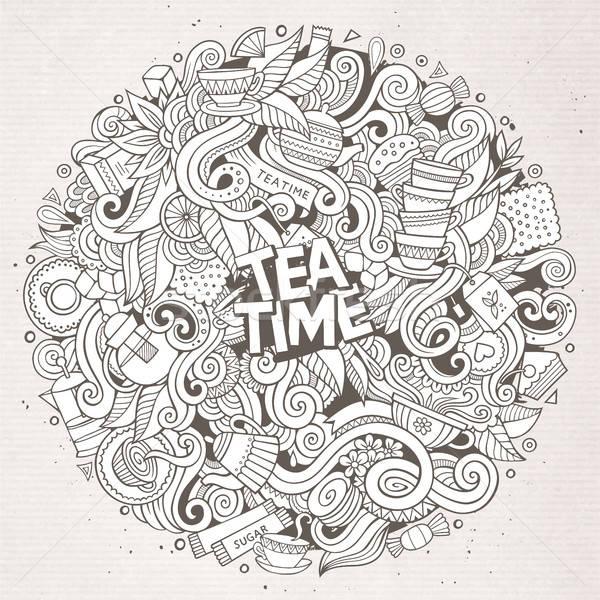 Cartoon Cute чай время иллюстрация Сток-фото © balabolka