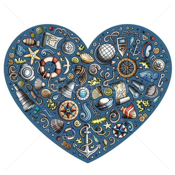 набор морской морской Cartoon объекты красочный Сток-фото © balabolka