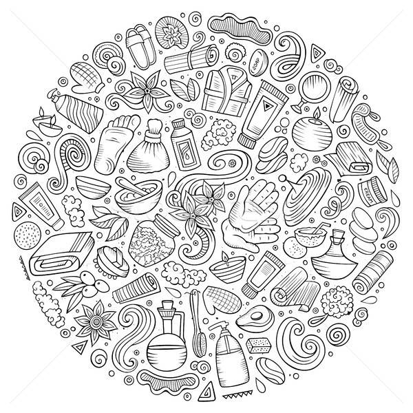 Foto stock: Vetor · conjunto · massagem · salão · rabisco · objetos