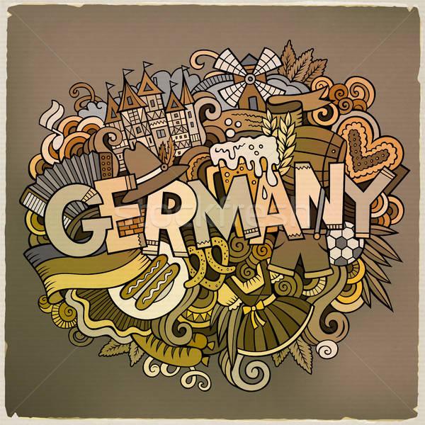 Cartoon cute doodles Germany illustration Stock photo © balabolka