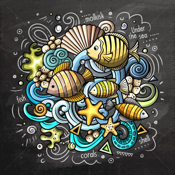 Subaquatique cartoon vecteur doodle tableau illustration Photo stock © balabolka