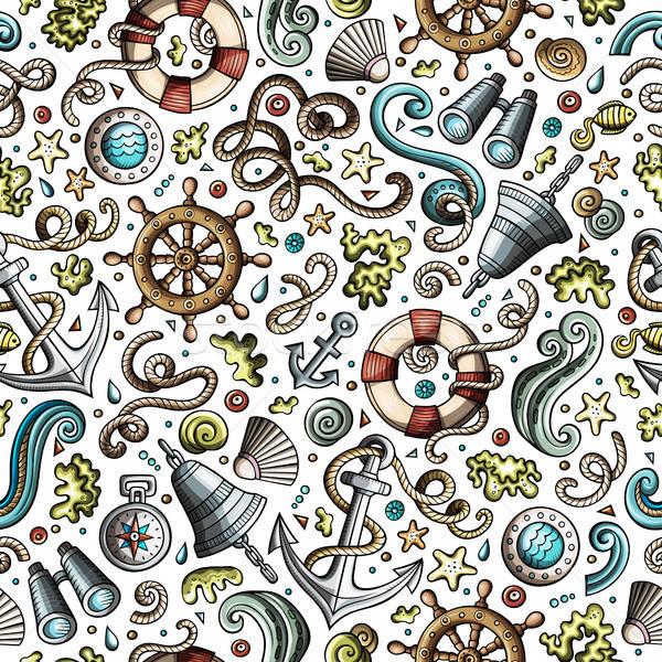 Rajz tengerészeti végtelen minta aranyos kézzel rajzolt tengeri Stock fotó © balabolka