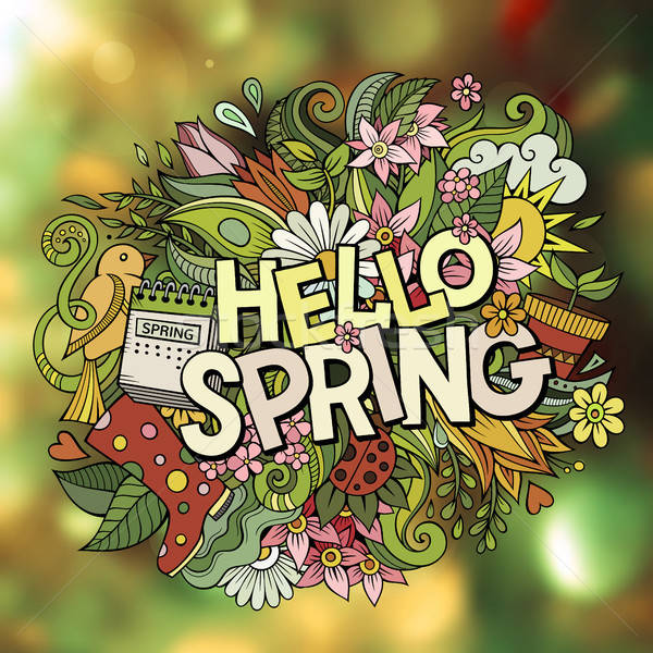 Stock fotó: Rajz · aranyos · firkák · kézzel · rajzolt · hello · tavasz