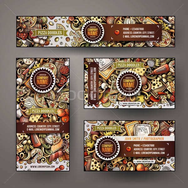 Corporate Identity vector templates set design with doodles hand drawn Pizza theme Stock photo © balabolka