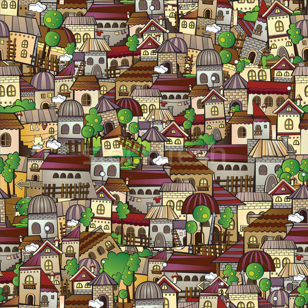 Cartoon vector fairy tale drawing town. Stock photo © balabolka
