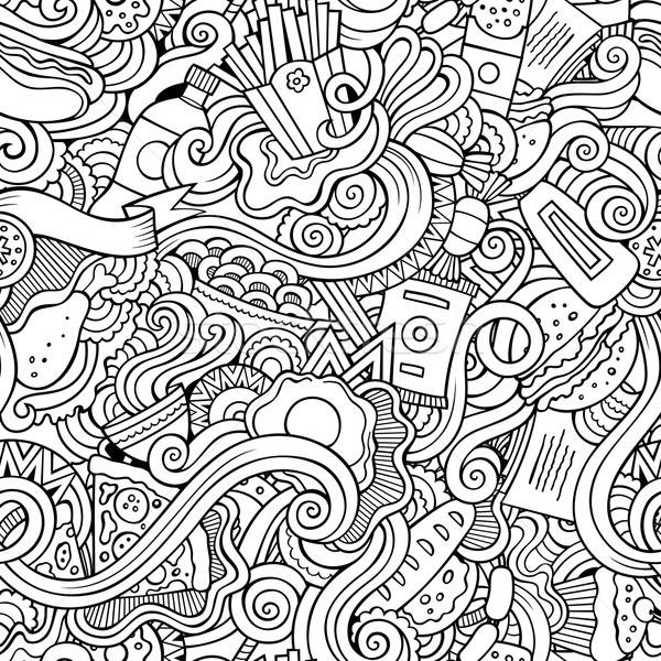 Kritzeleien abstrakten Fast-Food Muster Karikatur Stock foto © balabolka