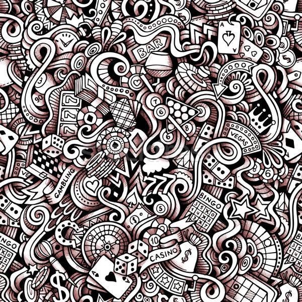 Cartoon hand-drawn doodles on the subject of Casino style theme  Stock photo © balabolka