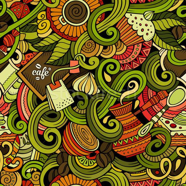 Rajz firkák kávézó kávéház végtelen minta részletes Stock fotó © balabolka