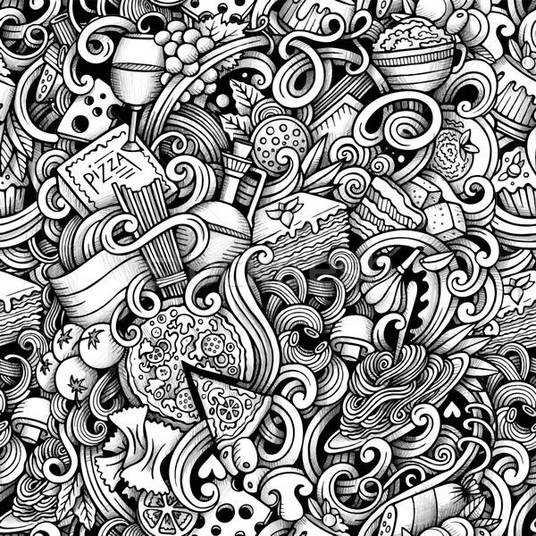 Cartoon hand drawn italian food doodles seamless pattern Stock photo © balabolka