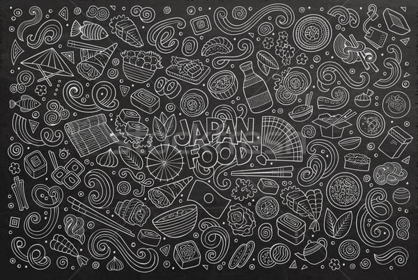 Vector cartoon ingesteld Japan voedsel objecten Stockfoto © balabolka