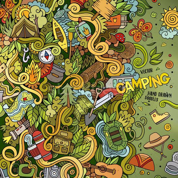 Desenho animado acampamento ilustração colorido Foto stock © balabolka