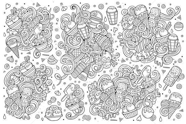 Line art vector cartoon set of ice-cream objects Stock photo © balabolka