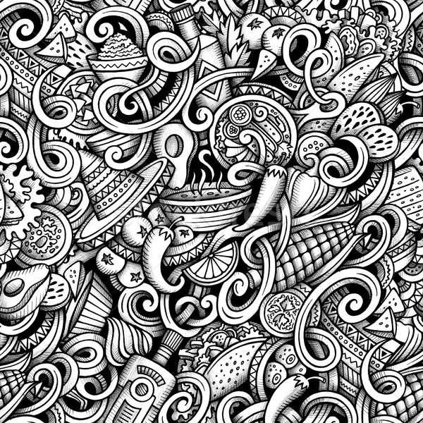 Cartoon hand drawn mexican food doodles graphics seamless patter Stock photo © balabolka