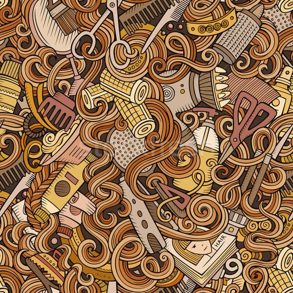 Stock photo: Cartoon cute doodles hairdressing salon seamless pattern