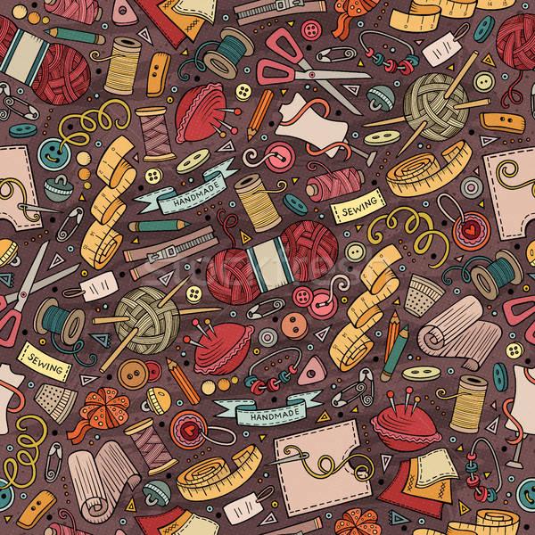 Cartoon cute hand drawn Handmade seamless pattern Stock photo © balabolka