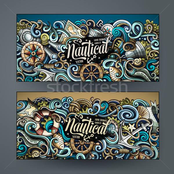 Foto stock: Desenho · animado · vetor · rabisco · banners · corporativo