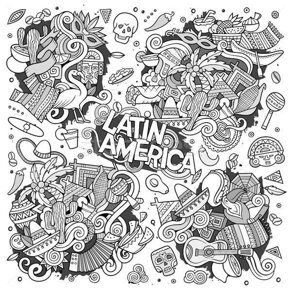 Sketchy vector hand drawn Doodle Latin American doodle designs Stock photo © balabolka