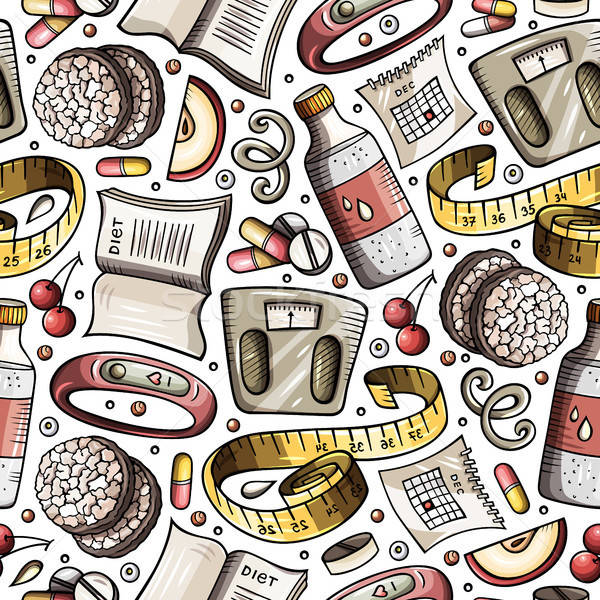 Foto stock: Desenho · animado · dieta · comida · símbolos · objetos