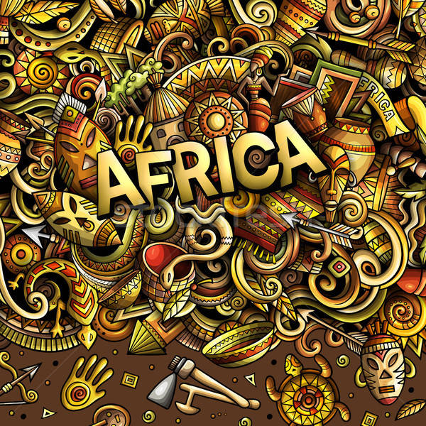 Cartoon cute doodles Africa word Stock photo © balabolka