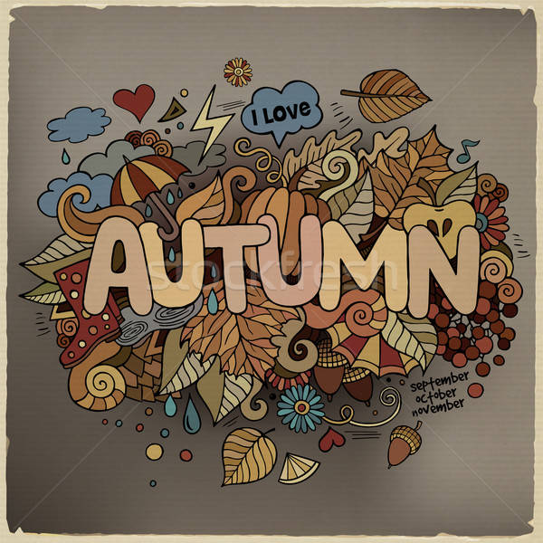 Autumn hand lettering and doodles elements background Stock photo © balabolka