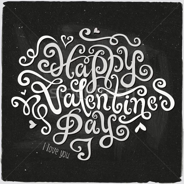 Stock fotó: Boldog · valentin · nap · kéz · kézzel · készített · kalligráfia · vektor