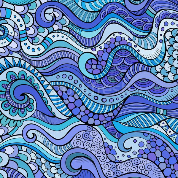 Decorative marine sealife ornamental ethnic vector background Stock photo © balabolka