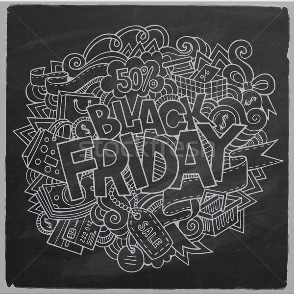 Stock photo: Black Friday sale hand lettering and doodles elements