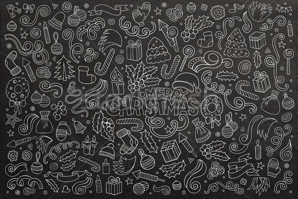 Stock photo: Chalkboard vector hand drawn Doodle cartoon set of Christmas objects