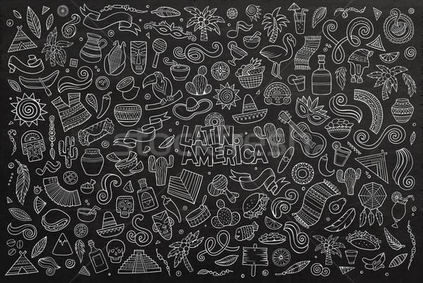 Chalkboard vector hand drawn Doodle Latin American objects Stock photo © balabolka