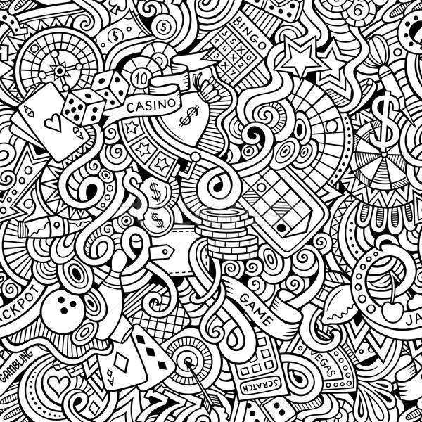 Cartoon hand-drawn doodles on the subject of casino style  Stock photo © balabolka