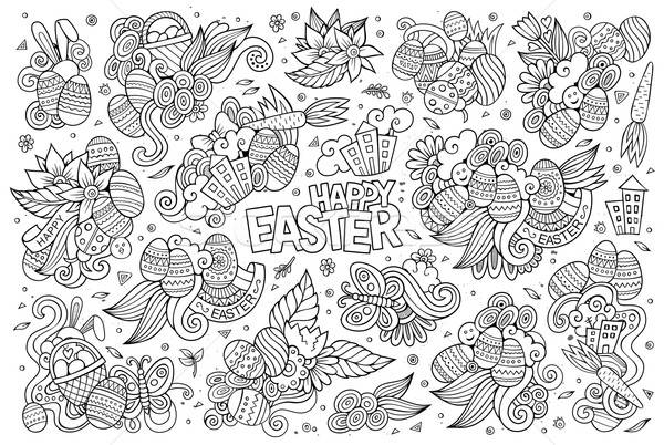 Stock photo: Sketchy vector hand drawn doodles cartoon set of Easter objects