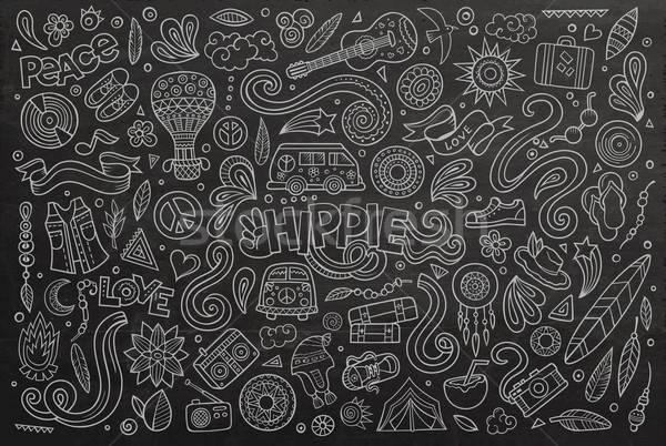 Pizarra establecer hippie objeto vector dibujado a mano Foto stock © balabolka