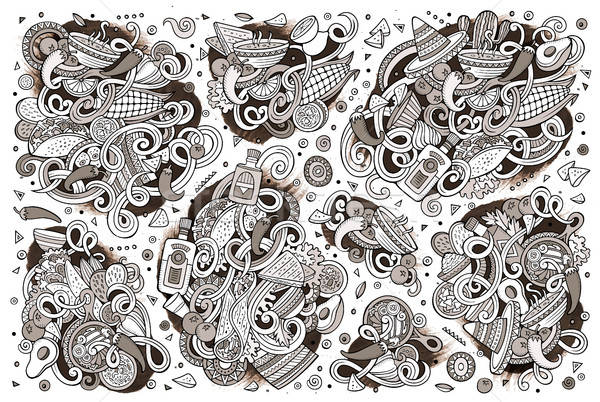 Doodle cartoon ingesteld mexicaans eten objecten lijn Stockfoto © balabolka
