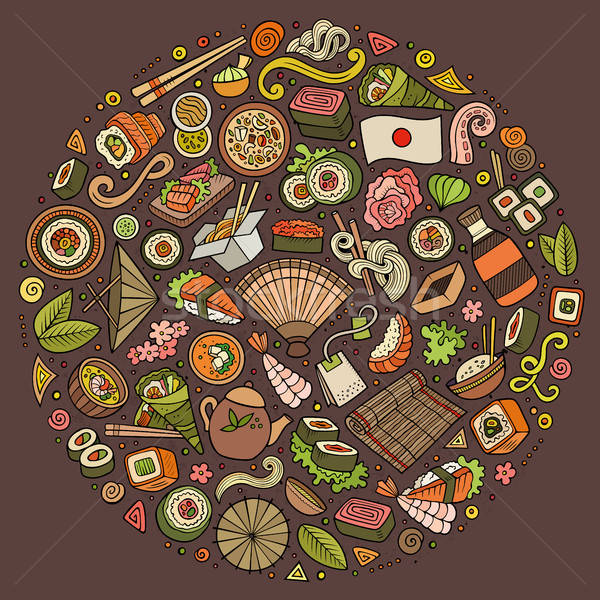 Japon alimentaire cartoon doodle objets Photo stock © balabolka