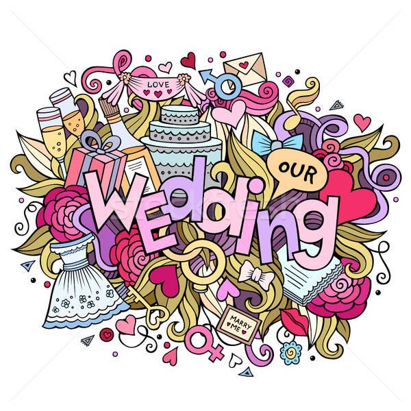 漫画 かわいい 手描き 結婚式 碑文 ストックフォト © balabolka